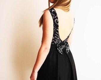 Mad Men 50's  Peter Pan Collar Backless Dress w. Decorative Bow//60% OFF Damask Pattern //Mini Or Midi //Prom Night Dress // Lindy Hop Dress