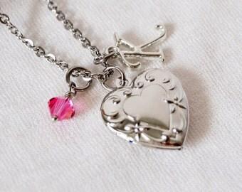 Rose Pink October Birthstone Necklace, Initial Necklace, Locket Necklace, Heart Locket, Silver Heart Locket, Little Girl Locket