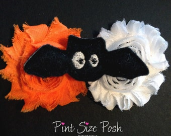 Baby girl shabby flower hair clip headband accessory crochet elastic Halloween bat clippie toddler feltie black orange white