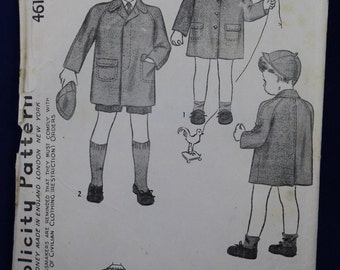 Vintage Boy & Girl's Coat Sewing Pattern for Age 6  - Simplicity 4619