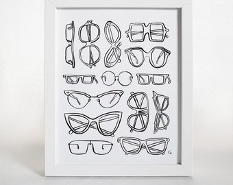 Glasses Print, Glasses Illustration, Eye Glasses Print, Minimalist Print, Black Home Decor, Pen & Ink, Modern Home Decor, Black and White