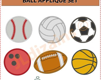 BALL applique set. Machine embroidery design - INSTANT DOWNLOAD - multiple sizes.