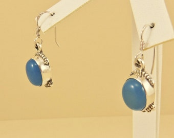 Sterling Silver And Holly Blue Chalcedony Dangle Earrings