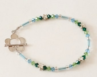 """Sterling Silver And Glass Bead Toggle Bracelet 7 3/4"""""""