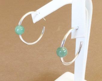 """Sterling Silver And Aventurine Hoop Earrings 1 1/4"""""""