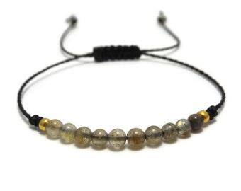 Labradorite Bracelet, Gemstone Bracelet, Labradorite Jewelry, Beaded Bracelet, String Bracelet, Thread Bracelet, Minimalist Jewelry, Gift