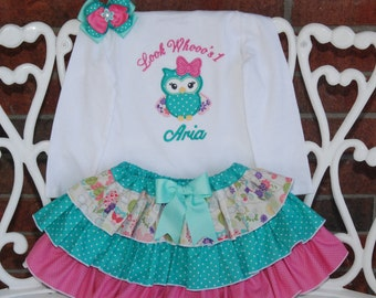 Owl Birthday Outfit! Baby Girl First Birthday Outfit! Girls Owl Birthday outfit/First birthday outfit/Look Who's 1/Blue and pink owl outfit