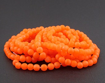Opaque Neon Orange Matte Glass Seed Beads, Blacklight Reactive 4mm Rounds, Size 3 Spacers S161