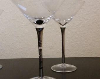 Silver Stemmed Martini Glasses