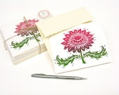 Mother's Day Card Set of 8 Magenta Pink Sunflower Flower Floral Woodblock Block Print Card