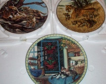 Cat lover Collectible Porcelain Plates/ Vintage Wall Decor/ Greg Beecham/ Hannah Hollister Ingmire/ Country cats/ Cougar/ Lioness/ 3 plates