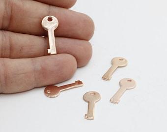 3 Pcs Rose Gold Key Charms , Key Pendant, Key Charm , Rose Gold Findings, 9x21mm , ROSE366