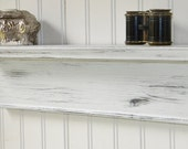 "18"" Wall Shelf Rustic Wood Handmade Wall Mounted Floating Shelf Distressed White Finish"