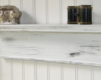 "18"" Wall Shelf Rustic Wood Handmade Wall Mounted Distressed White Finish"