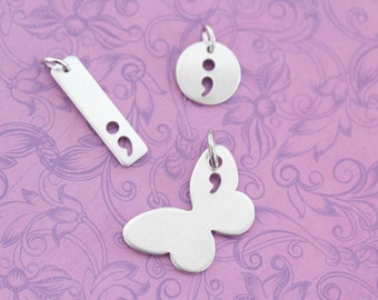 Semicolon Project Charms - Semicolon Butterfly - My Story Isn't Over Yet ;  - Semicolon Project - Semicolon Charm - Semicolon Jewelry