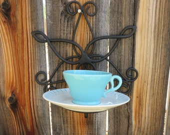 Up Cycled 50s Atomic Look Beachy Hanging Tea Cup Bird Feeder or Planter - Chippy Mis-Matched Turquoise & White  Cup and Saucer