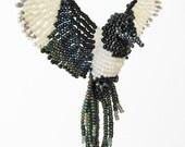 3D Bird Ornament, Beaded Bird Suncatcher, Magpie Bird Necklace, Beaded Window Decor, Bird Room Decor, Bird Figure, Magpie / BB059