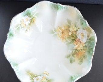 RS Prussia Bowl German Porcelain Multi Color Flowers Poppies