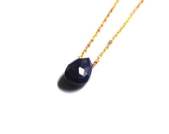 Lapis Lazuli briolette necklace, Lapis lazuli necklace, Lapis lazuli and 14t gold chain necklace, Briolette necklace