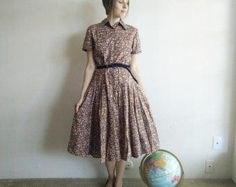 Vintage Brown Floral Shirtwaist Dress/80s does 50s