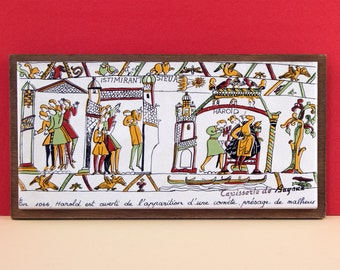 French vintage souvenir Bayeux tapestry ceramic tile
