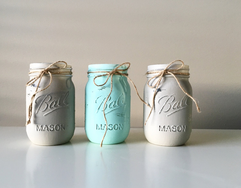 Baby Shower Decor With Mason Jars ~ Baby boy shower decorations painted mason jars