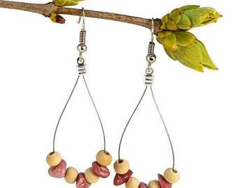 Gypsy bohemian earrings, rhodonite jewelry, wood silver gemstone earrings bohemian gypsy jewelry rhodonite dangle earring hoop earring waina