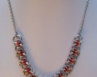 """Chainmaille Necklace and Earrings in """"Fire Mix"""" colours"""