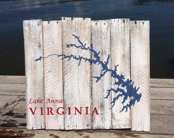 Lake Anna and Lake Louisa Virginia Repurposed Pallet Board Painting