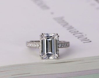 Emerald Cut Ring - Engagement Ring - Solitaire Ring - CZ Wedding Ring - Promise Ring - CZ Ring - Cocktail Ring - 5 Carat - Sterling Silver