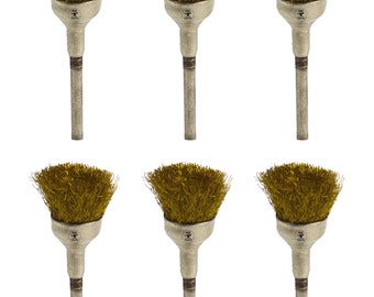 "6 Pack of Crimped Wire Brass Cup Brushes 3/32"" Mounted Jewelry Rotary Polishers - BRUS-0014"