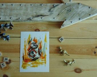 Postcard sized - BB-8 Art Print Painting