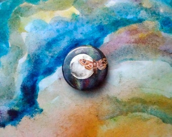 1 Inch Moth on the Moon Pin/ Surreal Death Head Moth Pinback Button Badge