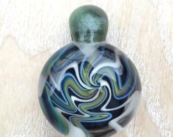 Wigwag Borosilicate Glass Pendant 'Blue Moon' / White #1