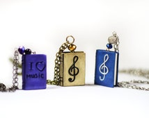 Music jewelry Book necklace Music book lover gift Mini book charm Music lover necklace Treble clef pendant Book gift Tiny book necklace gift