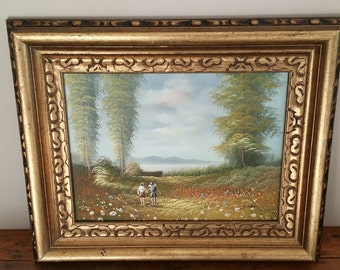Vintage Gold Framed Oil Painting, Nature, Couple holding Hands, 12x16, Fidelity World Arts Inc, Outdoors, Wall Decor, Artist, Painting