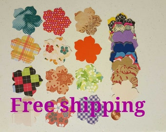 50 flower cutouts. Die cuts. Embellishments. Different colors and paper thickness. 50 paper flowers. Scrapbook flowers. Free shipping.