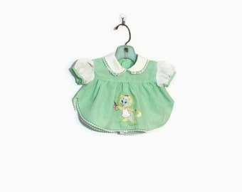 Vintage Mint Green Newborn Dress / Kitten Cat Baby Clothes