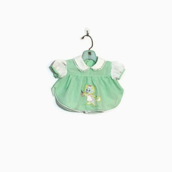 Vintage Mint Green Newborn Dress Kitten Cat Baby Clothes