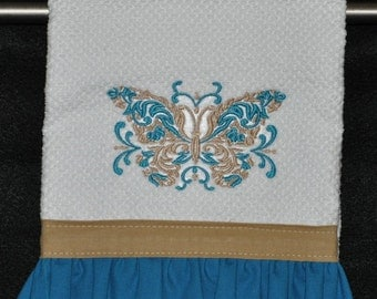 "Embroidered Dish Towel ""Butterfly"""