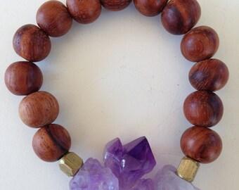 Raw Amethyst Stone + Wood Bracelet