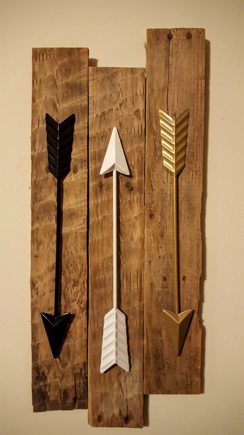 bedroom decor arrow wall decor 3 metal arrows on reclaimed. Black Bedroom Furniture Sets. Home Design Ideas