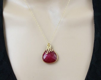 Ruby Necklace, Initial Necklace, Pendant Necklace, Gemstone Necklace, July Birthstone, Personalized Womens, Gift for Her, Mothers Necklace