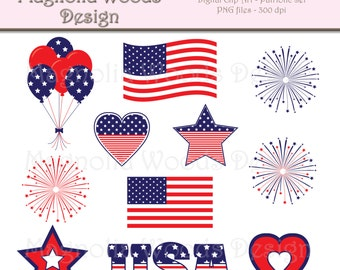 Patriotic Clip Art, 4th of July Clip Art, Red White and Blue Clip Art, July 4th Images, America Clip Art, Small Commercial Use Clip Art