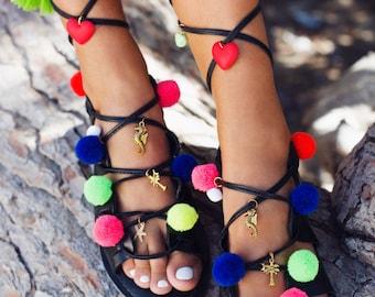 gladiator sandals,  leather sandals, boho sandals, pom pom sandals, pompom sandals, lace up sandals, tie up sandals, greek sandals - Hawaii