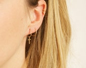 Tiny gold hoops - tiny hoops - cross hoops - 9ct gold hoops - gold hoop earrings - gold cross hoops - cartilage hoops - small cross - TP6598
