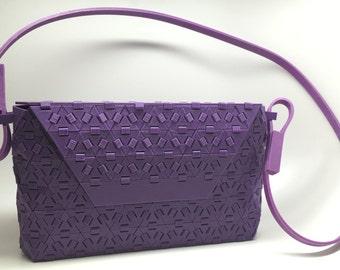 "Plex 3D Printed Sustainable Clutch Handbag - Purple, 5.5"" H x 10.3"" L x 1.8"" W, 10 oz."