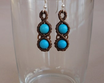 Infinity - macrame earrings with howlite turquoise beads