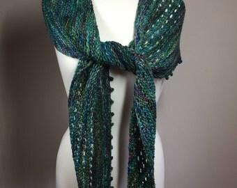 Multicolor scarf, hand knit scarf, wool scarf, bluish green scarf, long scarf, eyelet scarf, woman's scarf, feminine scarf, picot edge scarf