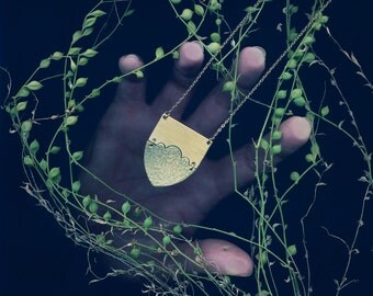 Cumulus Necklace - cloud dream sky modern minimal hammered gold brass long original emblem shield dreamy daydream